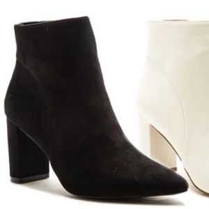Qupid Pointed Toe Black Suede Heeled Bootie
